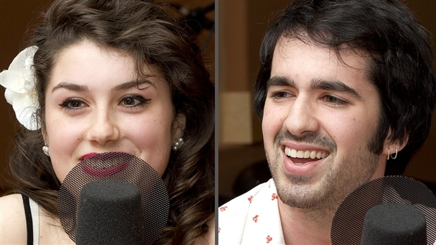 �Radio-Canada/Christian C�t� | <b>Anna Frances Meyer et �tienne Barry, musiciens du m�tro</b>