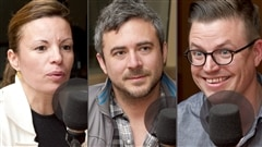 Radio-Canada/Christian Ct | <b>Les chefs cuisiniers Helena Loureiro, Martin Juneau et Dany St-Pierre.</b>