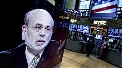 Retransmission du discours du président de la Fed, Ben Bernanke, à la Bourse de New York.