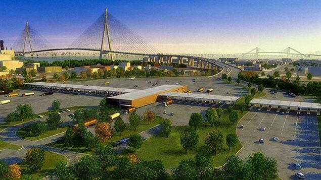 Dessin du nouveau pont qui relierait l'ouest de Windsor à Détroit