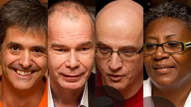 © Radio-Canada / François Lemay | Jean-Yves Dionne, Luc Bessette, Alain Vadeboncoeur, et Régine Laurent