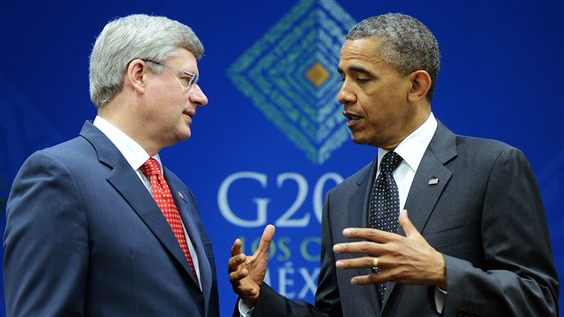Stephen Harper et Barack Obama.