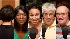 © Radio-Canada / François Lemay | M. Truc, Lydie Olga (N)tap, Nathalie Lambert, Daniel Turcotte, et Dominique Lévesque