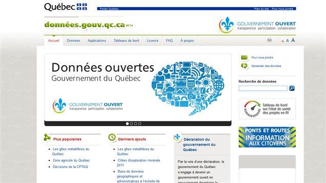 Le portail de données ouvertes du gouvernement du Québec