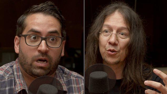 ©Radio-Canada/Olivier Lalande | <b>Les coorganisateurs du colloque Invasion Montréal, Samuel Archibald et Bernard Perron</b>