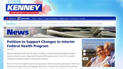 Pétition sur le site du ministre fédéral de l'Immigration, Jason Kenney.