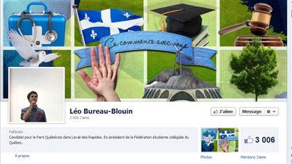 Page Facebook de Léo Bureau-Blouin, candidat du Parti québécois dans Laval-des-Rapides