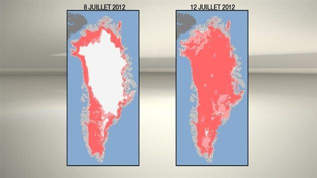 Fonte de la calotte glaciaire au Groenland à l'été 2012