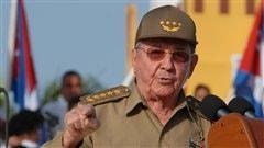 Le pr�sident cubain Raul Castro lors de la c�r�monie marquant le 59e anniversaire de l'attaque rat�e contre la caserne de la Moncada.