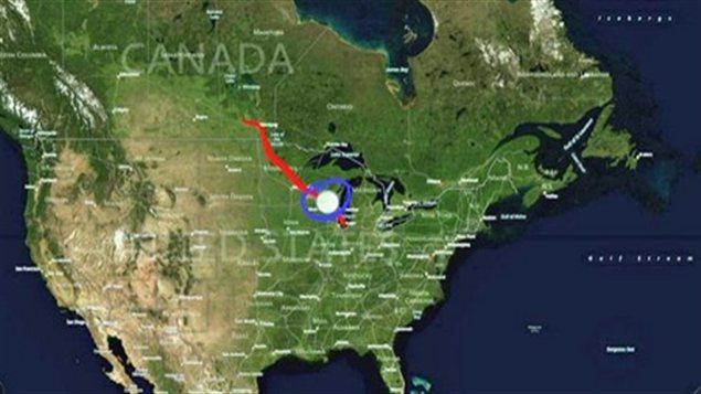 Carte du pipeline 14 de l'entreprise albertaine Enbridge. La fuite a eu lieu à la hauteur de Grand Marsh, dans l'État américain du Wisconsin