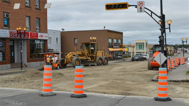 Les travaux de rfection de la rue Gamble,  Rouyn-Noranda