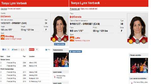 La biographie en anglais de la lutteuse canadienne est plus complète dans la version anglophone du site officiel des JO.