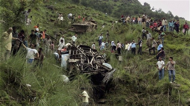Un accident d'autocar en Inde.