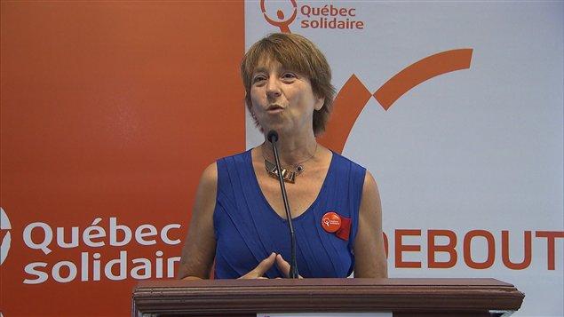 La coporte-parole de Québec solidaire Françoise David