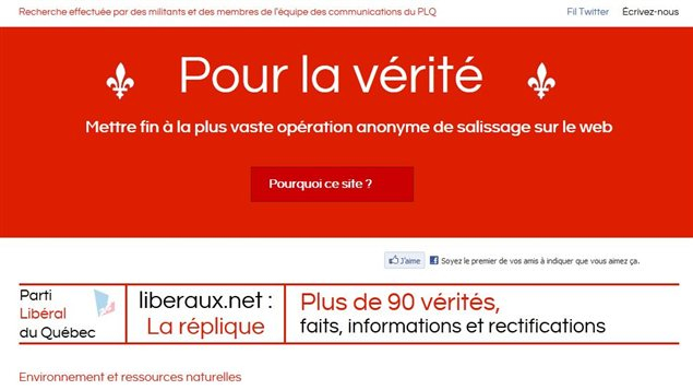 Le site &#171;&amp;#160;Pour la v&#233;rit&#233;&amp;#160;&#187; du PLQ en r&#233;plique &#224; liberaux.net