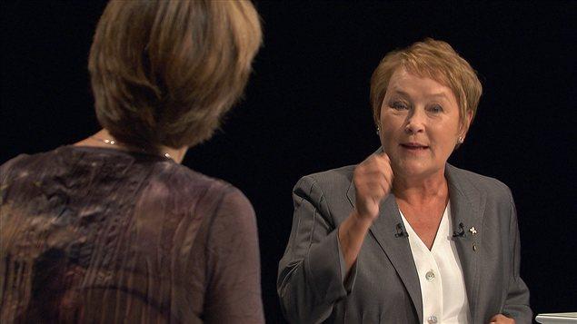Pauline Marois réplique à Françoise David lors du débat des chefs de 2012.