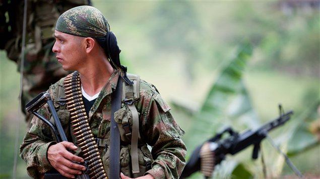Un membre des Forces armées révolutionnaires de Colombie (FARC), dans les montagnes près de Toribio, en juillet 2012.