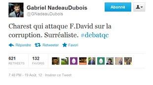 C'est un des tweets de Gabriel-Nadeau Dubois qui a été le plus populaire: «Charest qui attaque F. David sur la corruption. Surréaliste. #debatqc»