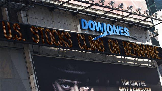 L'indice Dow Jones en hausse.