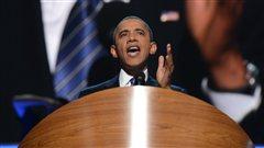Le président sortant Barack Obama prononce son discours d'investiture du Parti démocrate à Charlotte en Caroline du Nord.