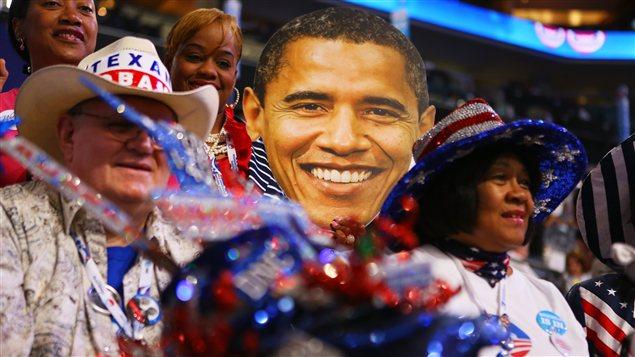 Des militants démocrates à la convention, à Charlotte en Caroline du Nord