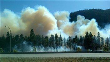 Un incendie de forêt dans l'Okanagan, en Colombie-Britannique