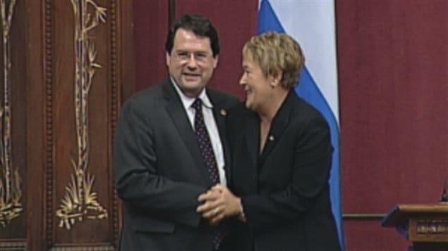 Bernard Drainville en compagnie de la Première Ministre du Québec Pauline Marois.