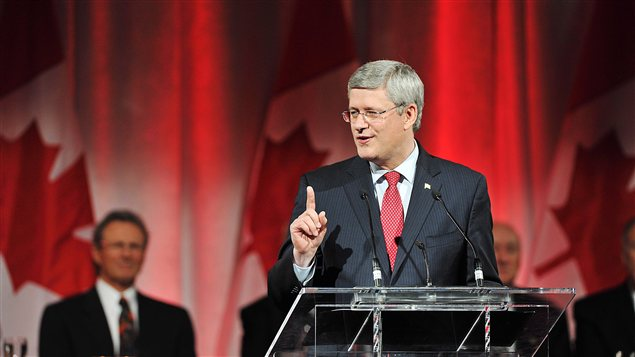 Le premier ministre Stephen Harper lors d&#39;une crmonie pour le 40e anniversaire de la Srie du sicle,  Toronto