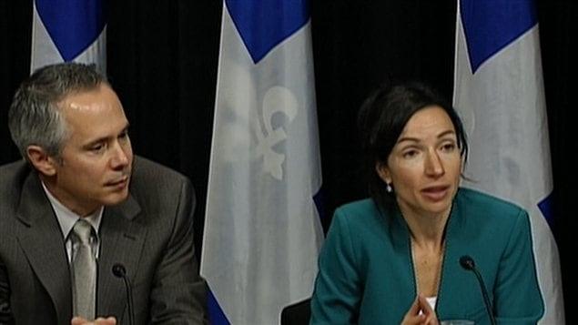 Le pdg d'Hydro-Québec Thierry Vandal et la ministre des Ressources naturelles, Martine Ouellet