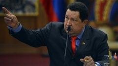 Le pr�sident Chavez lors de la rencontre avec la presse internationale.
