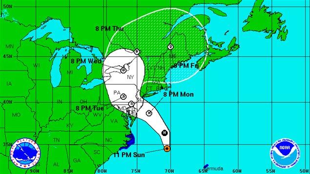 La trajectoire probable de Sandy, à 23 h dimanche.