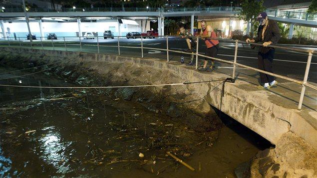Des résidents et visiteurs attendaient les vagues dans un port de Honolulu, à Hawaï, après le séisme de magnitude 7,7 qui a déclenché une alerte au tsunami.