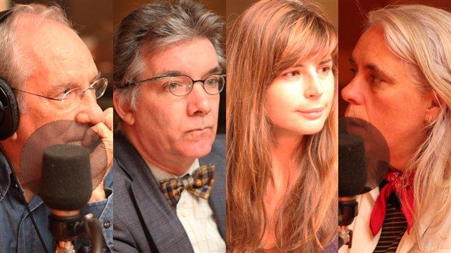 Jean Cournoyer, Daniel Turp, Claudine Simon et  Manon Massé  ©Radio-Canada/Marie-Sandrine Auger