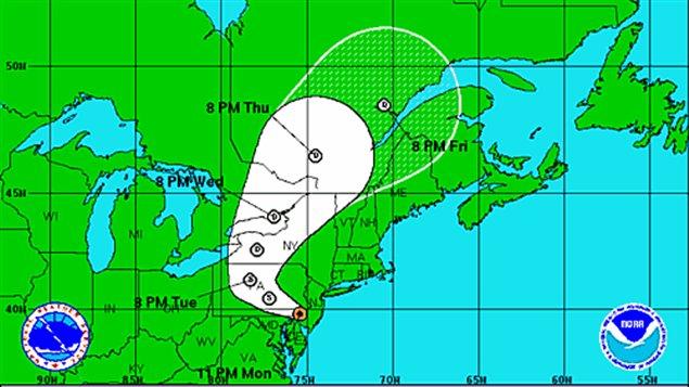 La trajectoire de l'ouragan Sandy, devenue tempête post-tropicale