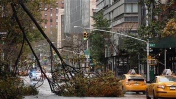 Des arbres brisés jonchent encore les rues de New York.