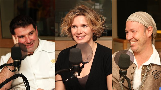 Jérôme Ferrer, Caroline Dumas et Ricardo Larivée (en costume d'Halloween) | © Radio-Canada / Philippe Couture