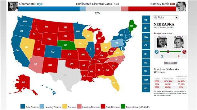 Carte interactive de CNN pour faire ses propres prévisions électorales.