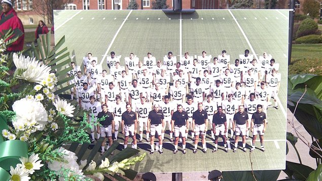 L'équipe de football de l'Université Marshall, en 1970.