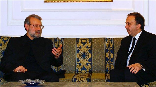 Le président du Parlement syrien, Mohammed Jihad al-Laham, et son homologue iranien, Ali Larijani