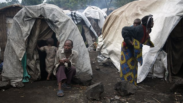 Des Congolais réfugiés dans un camp près de la ville de Goma, dans l'est du pays