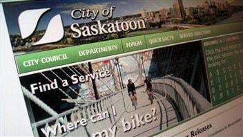 La page d'accueil du site web de la ville de Saskatoon.