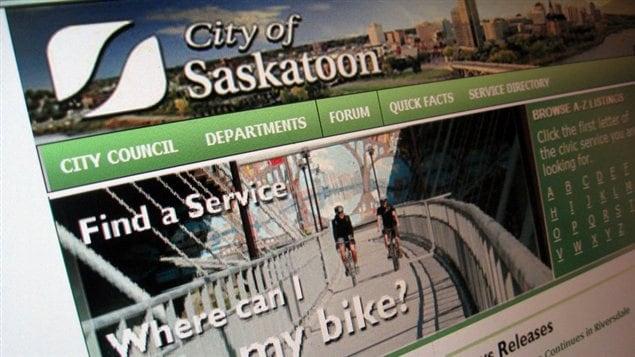 La page d'accueil du site web actuel de la ville de Saskatoon.