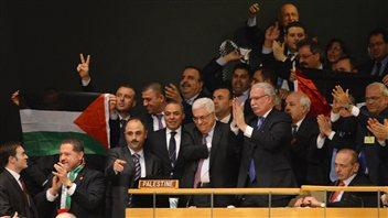 La délégation palestinienne après le résultat du vote