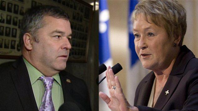 L'ex-ministre de l'Environnement, Daniel Breton, et Pauline Marois, première ministre du Québec