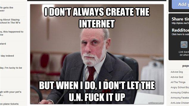Un mème mettant en scène Vinton Cerf