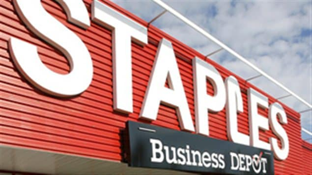 Une enseigne d&#39;un magasin Staples Business Depot
