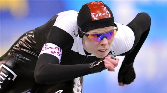 Christine Nesbitt pendant le 1000 m de la Coupe du monde de Nagano, au Japon