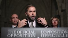 Le chef du Nouveau Parti dmocratique, Thomas Mulcair, livrant son bilan de la session parlementaire  Ottawa