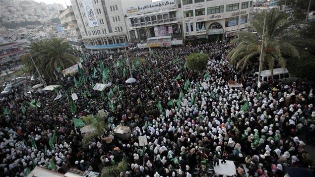 Les manifestants dans le centre de Naplouse