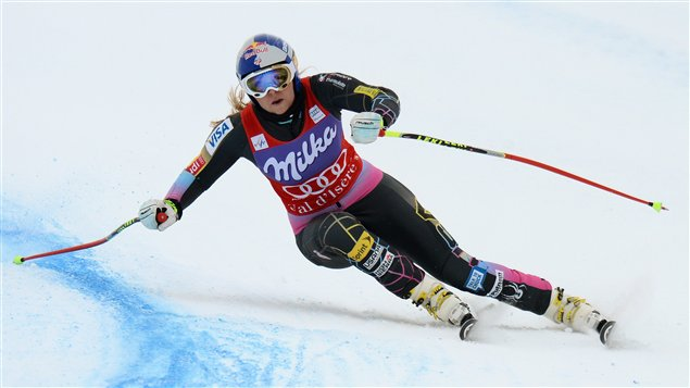 L'Américaine Lindsey Vonn pendant la descente d'entraînement de Val-d'Isère, en France